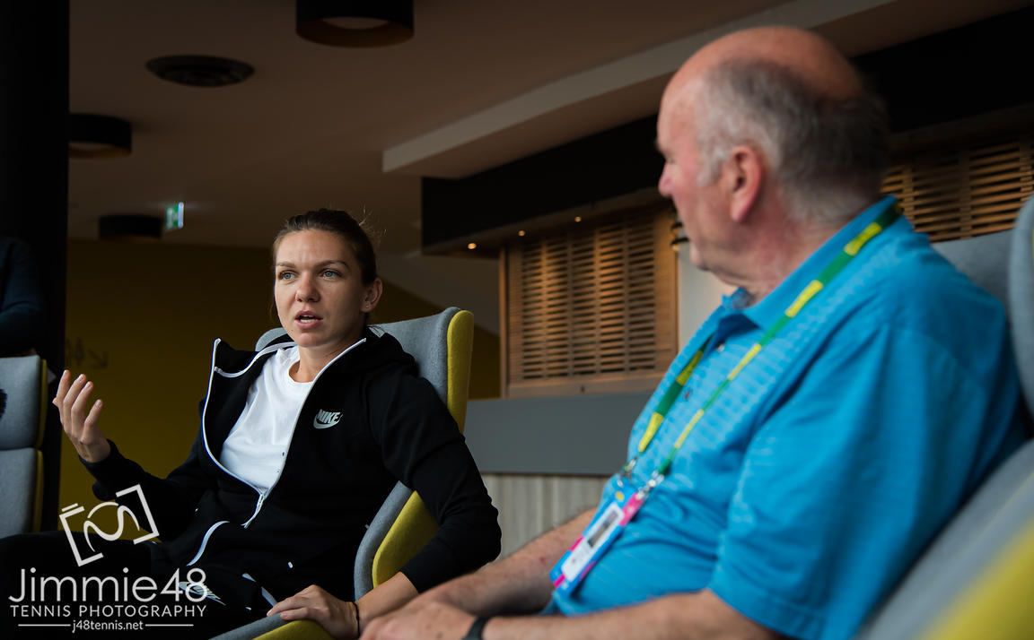 Simona Halep of Romania talks to the media during All Access Hour ahead of the  2019 Nature Valley International WTA Premier tennis tournament