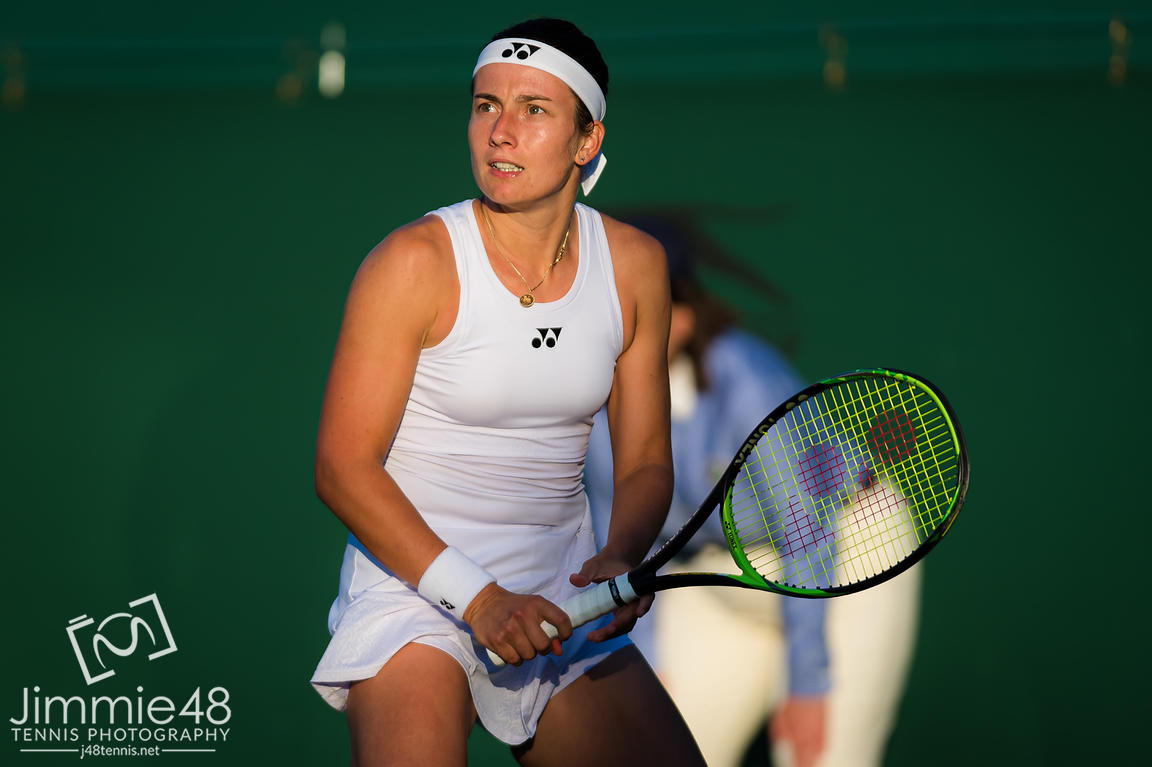 Anastasija Sevastova of Latvia in action during her second-round match at the 2019 Wimbledon Championships Grand Slam Tennis Tournament