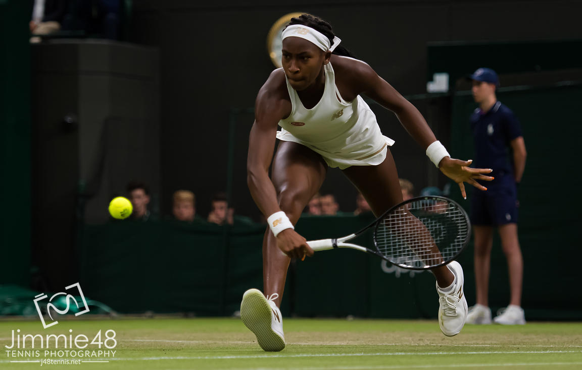 Cori Gauff of the United States in action during her second-round match at the 2019 Wimbledon Championships Grand Slam Tennis Tournament
