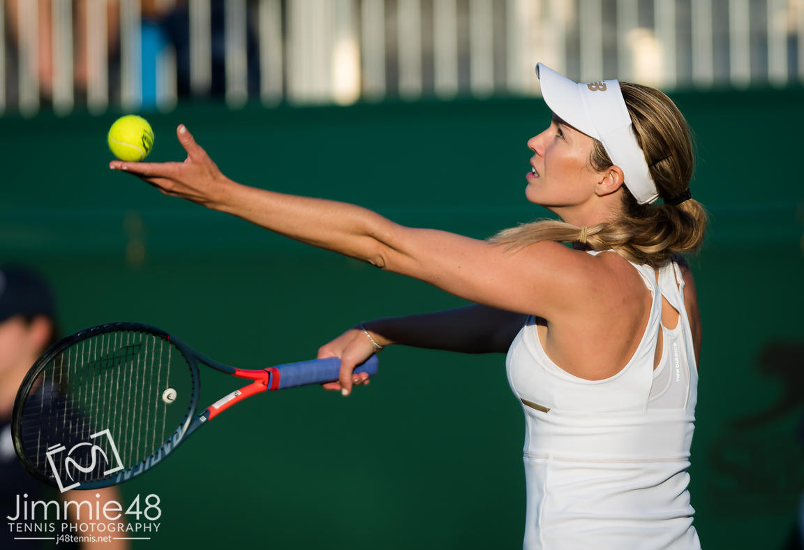 Danielle Collins of the United States in action during her second-round match at the 2019 Wimbledon Championships Grand Slam Tennis Tournament