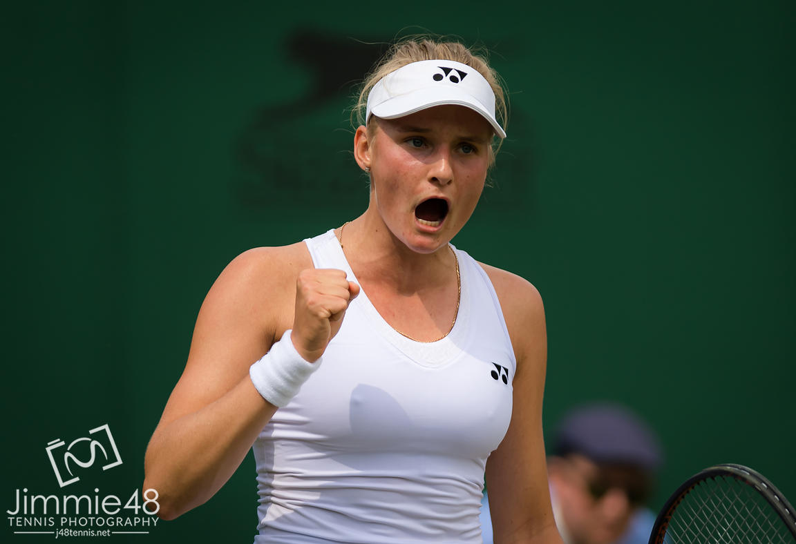 Dayana Yastremska of the Ukraine during her second-round match at the 2019 Wimbledon Championships Grand Slam Tennis Tournament