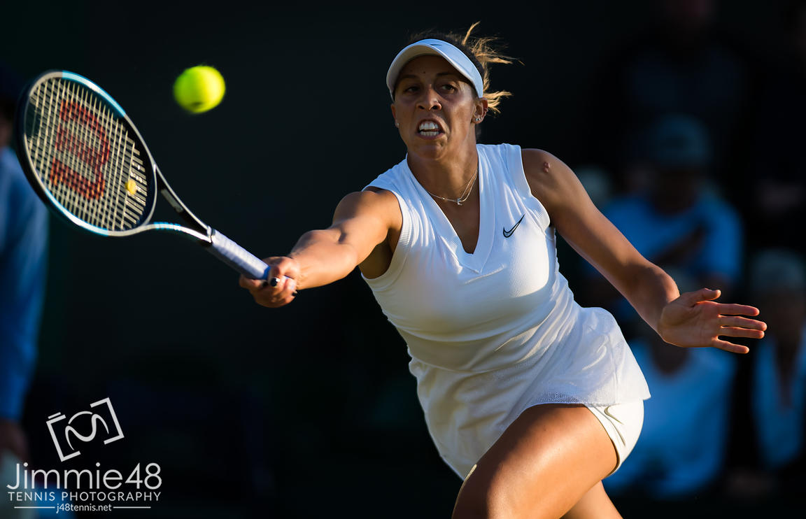 Madison Keys of the United States in action during her second-round match at the 2019 Wimbledon Championships Grand Slam Tennis Tournament