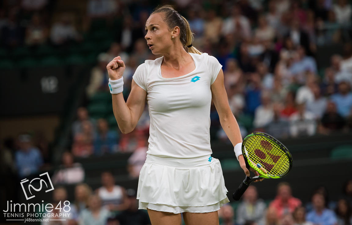 Magdalena Rybarikova of Slovakia in action during her second-round match at the 2019 Wimbledon Championships Grand Slam Tennis Tournament