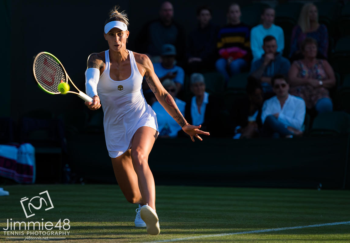 Polona Hercog of Slovenia in action during her second-round match at the 2019 Wimbledon Championships Grand Slam Tennis Tournament