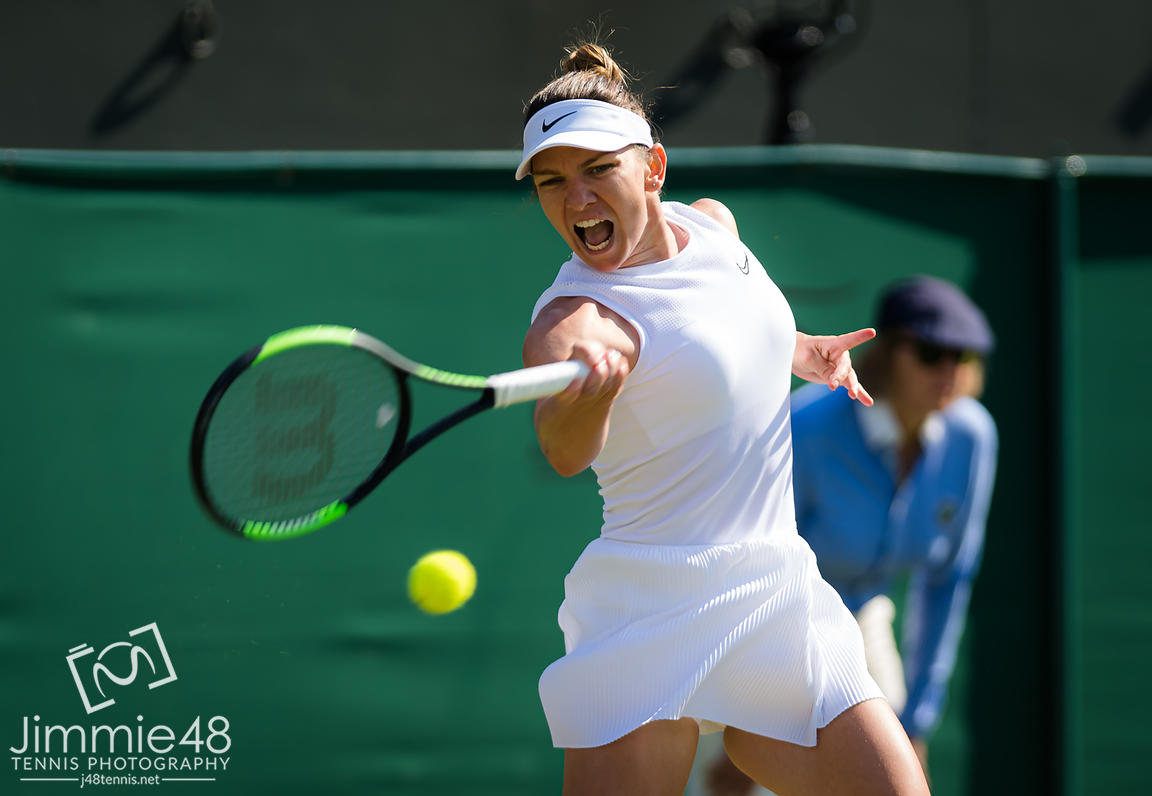 Simona Halep of Romania during her second-round match at the 2019 Wimbledon Championships Grand Slam Tennis Tournament