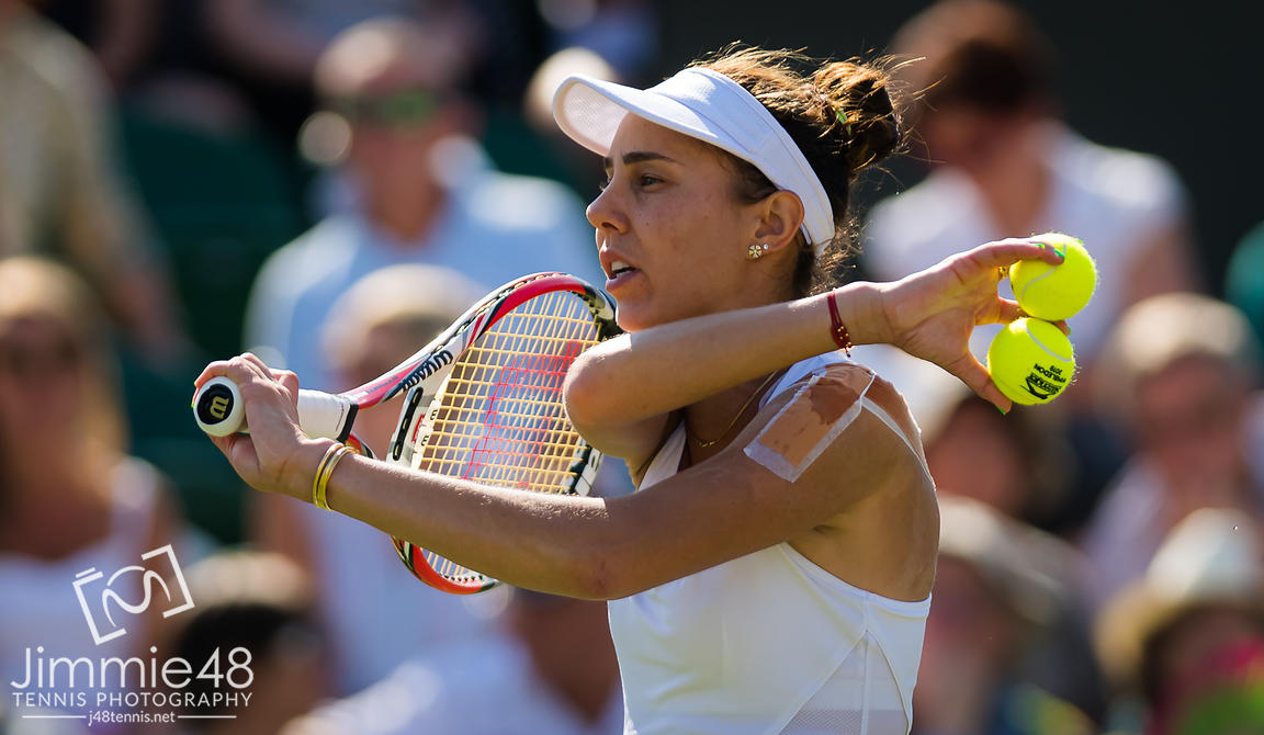 Mihaela Buzarnescu of Romania in action during her second-round match at the 2019 Wimbledon Championships Grand Slam Tennis Tournament