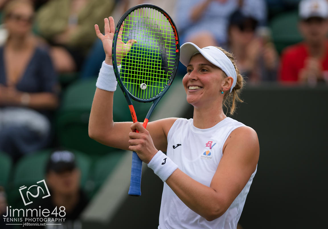 Beatriz Haddad Maia of Brazil in action during her first-round match at the 2019 Wimbledon Championships Grand Slam Tennis Tournament
