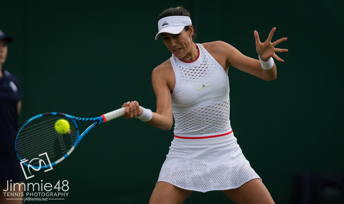 Garbine Muguruza of Spain in action during her first-round match at the 2019 Wimbledon Championships Grand Slam Tennis Tournament