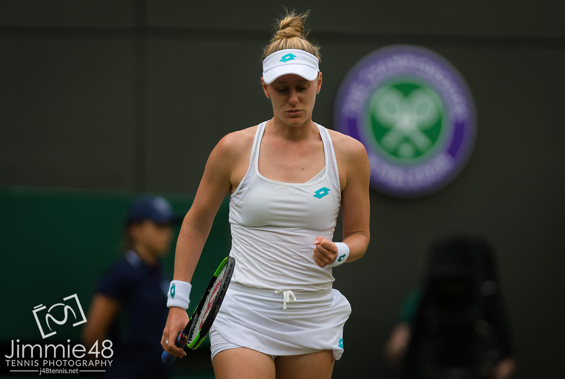 Alison Riske of the United States in action during her first-round match at the 2019 Wimbledon Championships Grand Slam Tennis Tournament