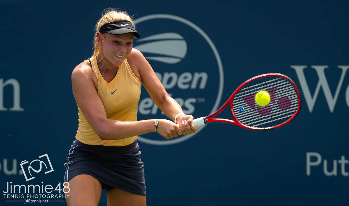 Donna Vekic of Croatia in action during her second-round match at the 2019 Western & Southern Open WTA Premier Tennis 5 Tournament