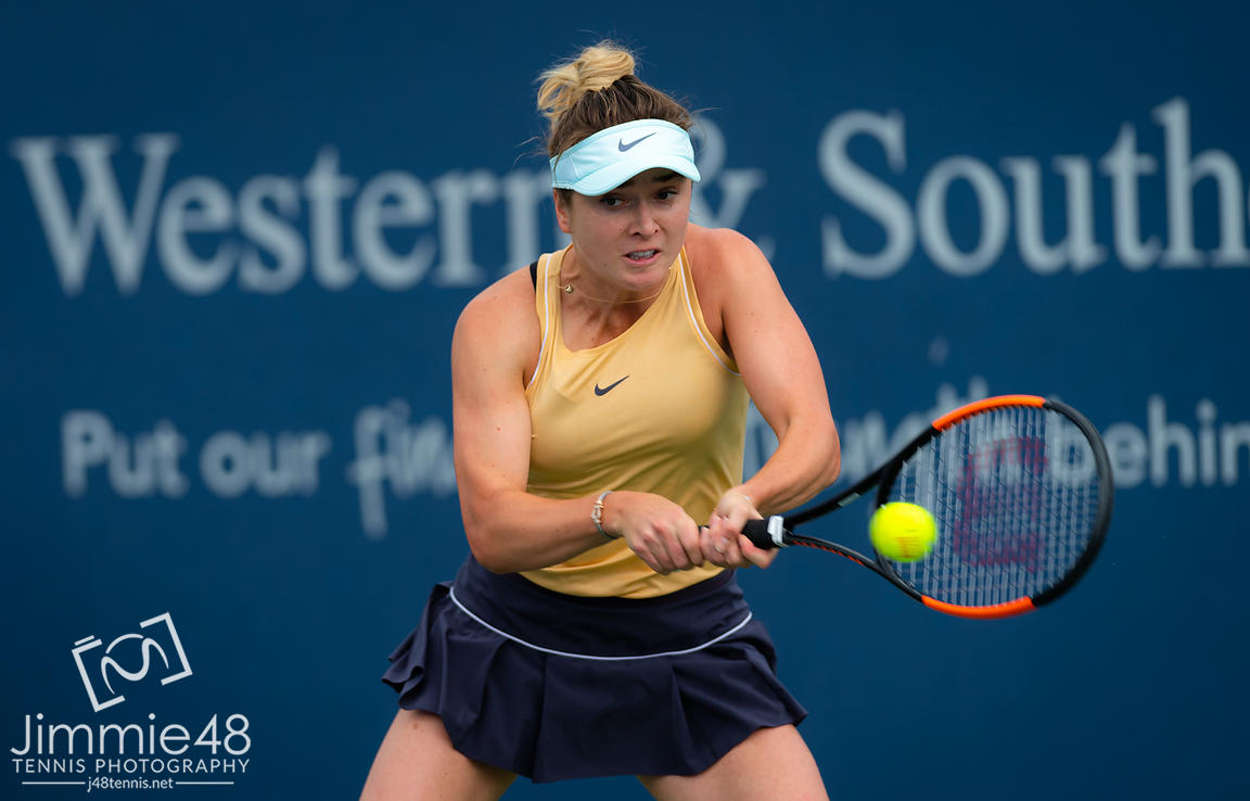 Elina Svitolina of the Ukraine in action during her second-round match at the 2019 Western & Southern Open WTA Premier Tennis 5 Tournament