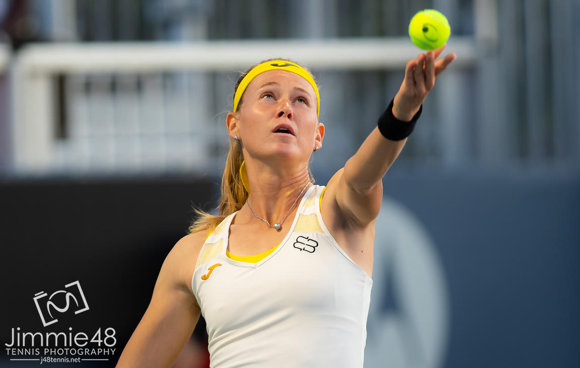 Marie Bouzkova of the Czech Republic in action during her third-round match at the 2019 Rogers Cup WTA Premier Tennis 5 Tournament
