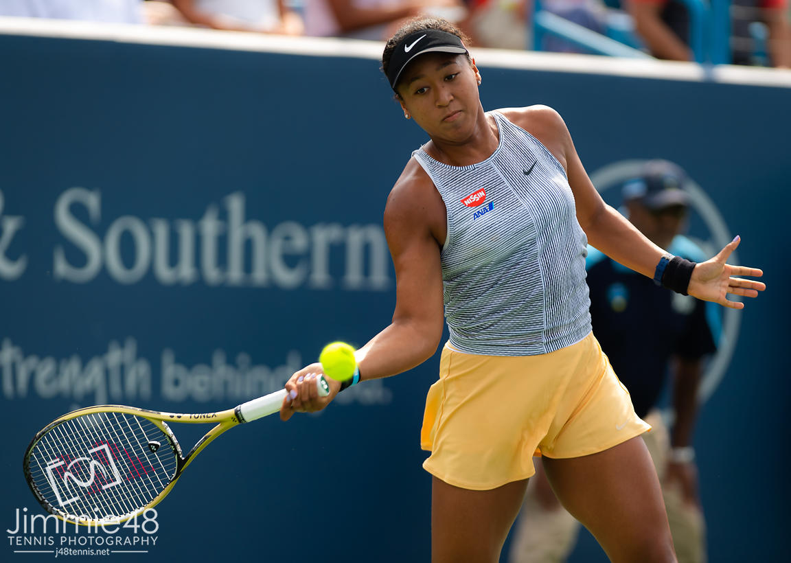 Naomi Osaka of Japan in action during her second-round match at the 2019 Western & Southern Open WTA Premier Tennis 5 Tournament