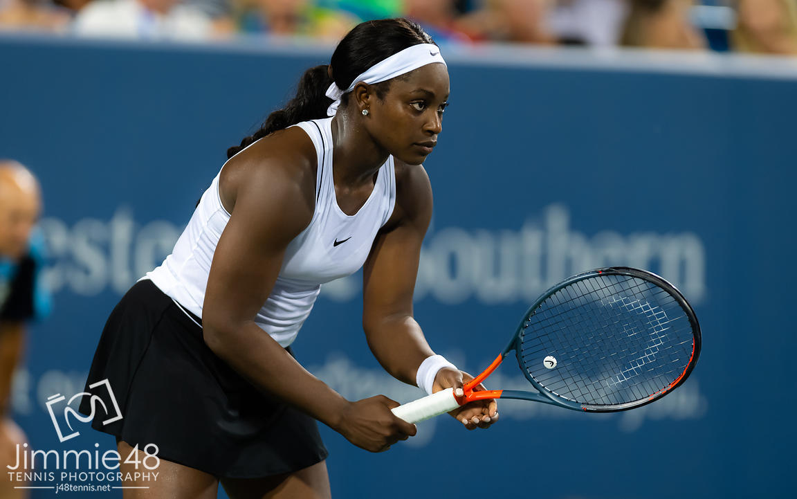 Sloane Stephens of the United States in action during her second-round match at the 2019 Western & Southern Open WTA Premier Tennis 5 Tournament