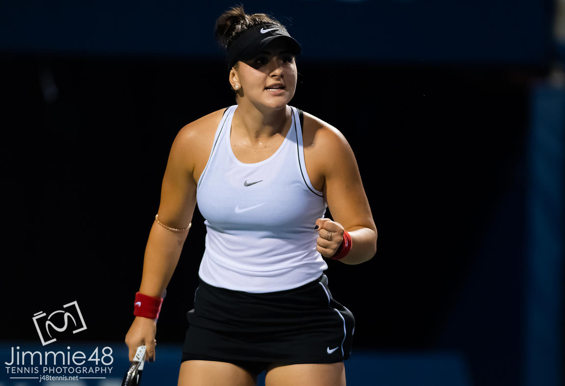 Bianca Andreescu of Canada in action during her first-round match at the 2019 Rogers Cup WTA Premier Tennis 5 Tournament