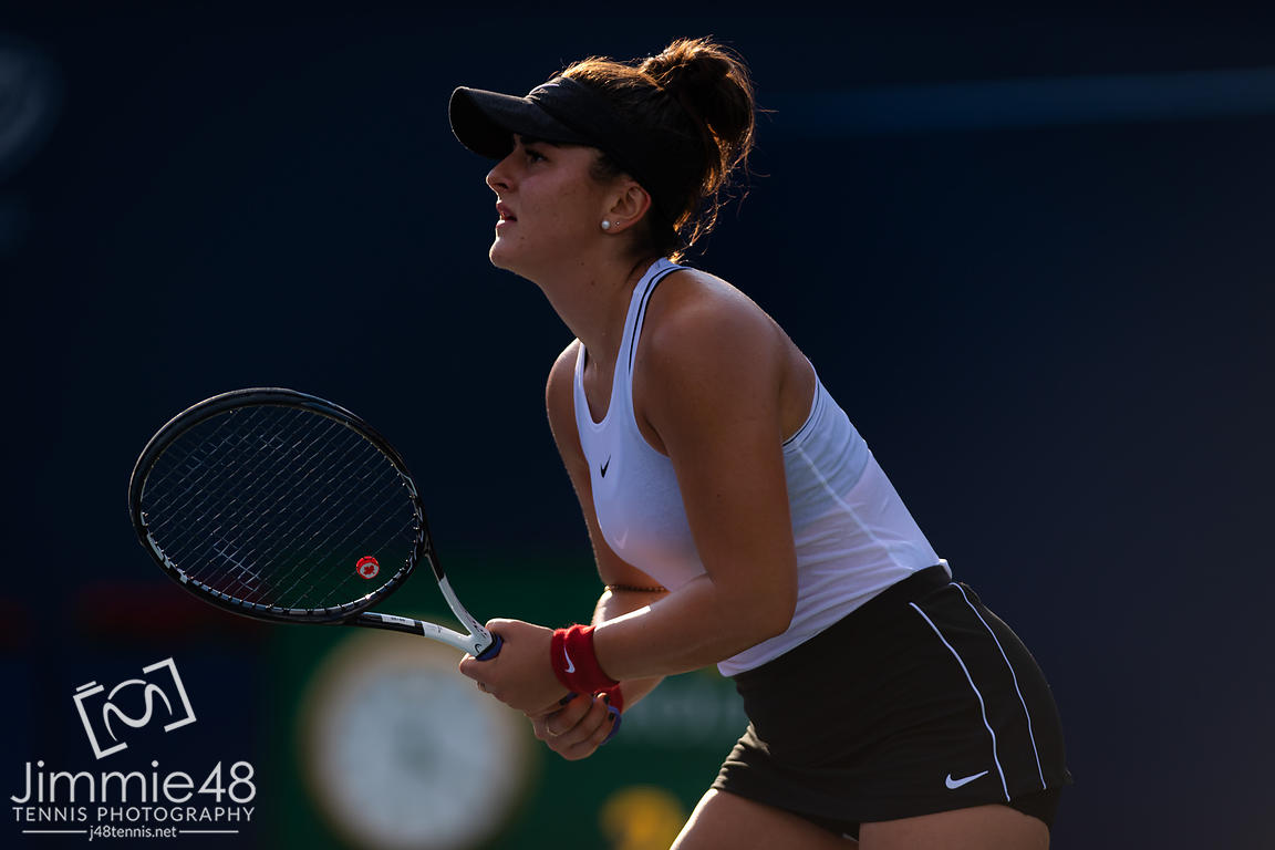 Bianca Andreescu of Canada in action during her second round match at the 2019 Rogers Cup WTA Premier Tennis 5 Tournament