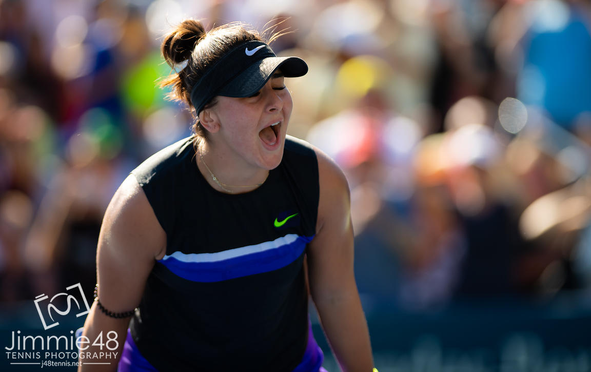Bianca Andreescu of Canada celebrates winning her second-round match at the 2019 US Open Grand Slam tennis tournament