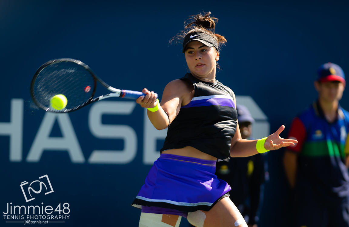 Bianca Andreescu of Canada in action during her second-round match at the 2019 US Open Grand Slam tennis tournament