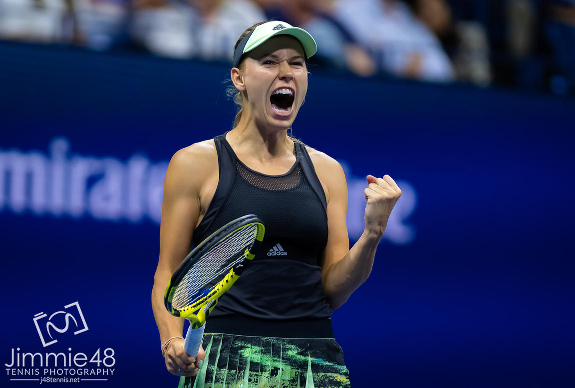 Caroline Wozniacki of Denmark in action during her second-round match at the 2019 US Open Grand Slam tennis tournament
