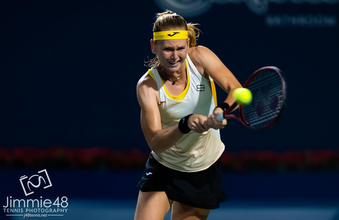Marie Bouzkova of the Czech Republic in action during her first-round match at the 2019 Rogers Cup WTA Premier Tennis 5 Tournament