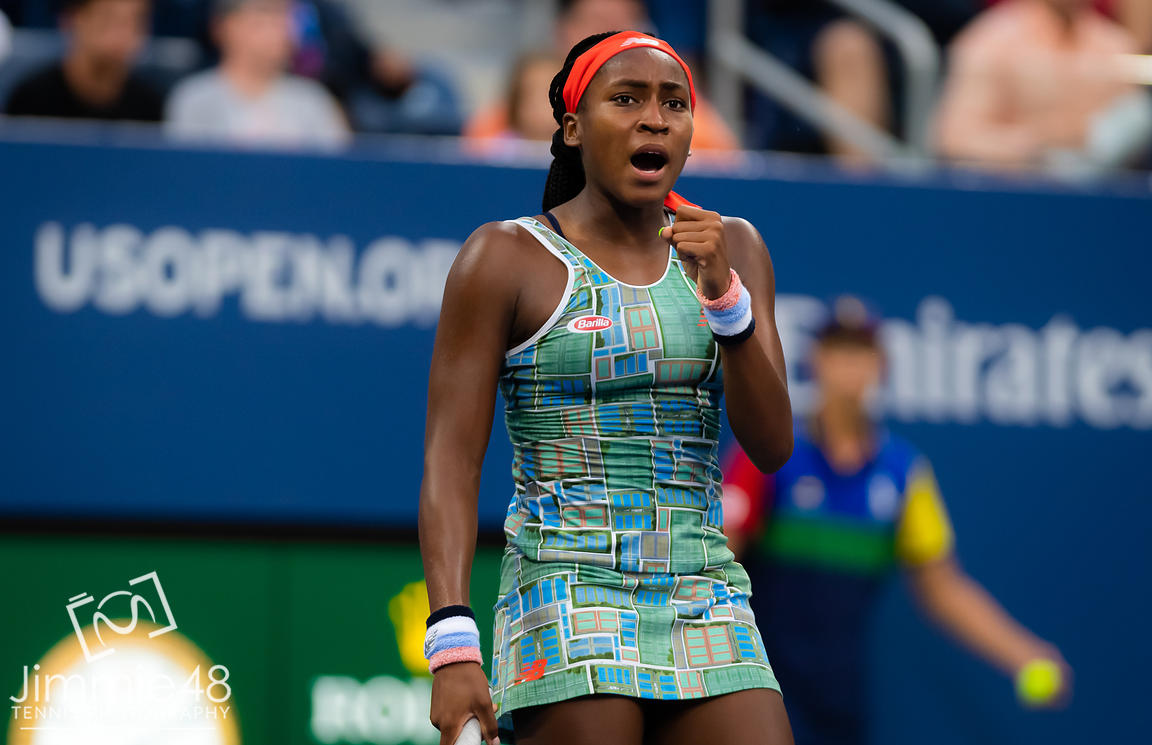 Cori Gauff of the United States in action during her first-round match at the 2019 US Open Grand Slam tennis tournament