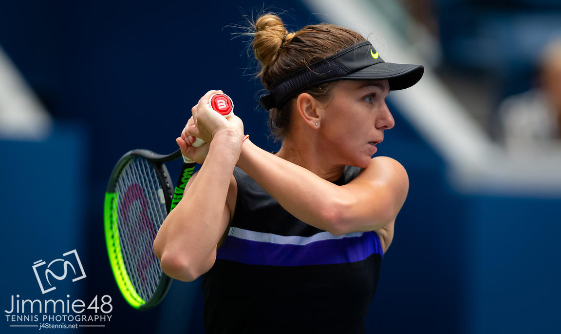 Simona Halep of Romania in action during her first-round match at the 2019 US Open Grand Slam tennis tournament