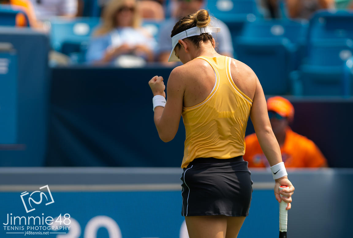 Simona Halep of Romania in action during her second-round match at the 2019 Western & Southern Open WTA Premier Tennis 5 Tournament
