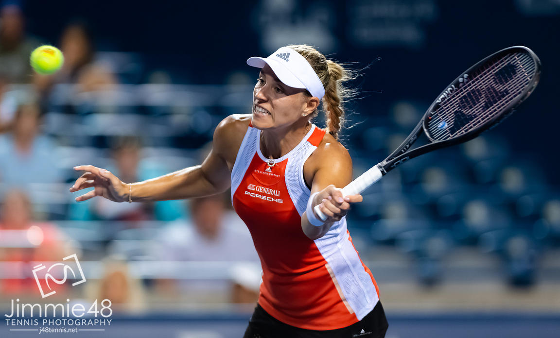 Angelique Kerber of Germany in action during her first-round match at the 2019 Rogers Cup WTA Premier Tennis 5 Tournament