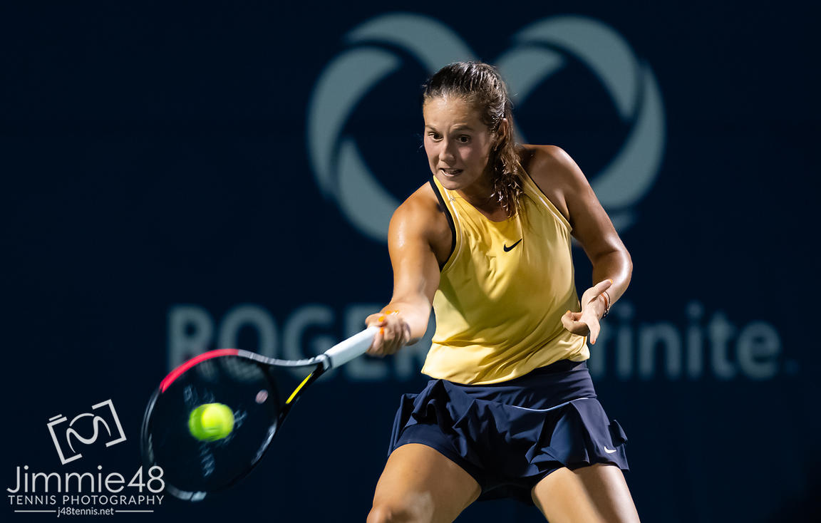 Daria Kasatkina of Russia in action during her first-round match at the 2019 Rogers Cup WTA Premier Tennis 5 Tournament