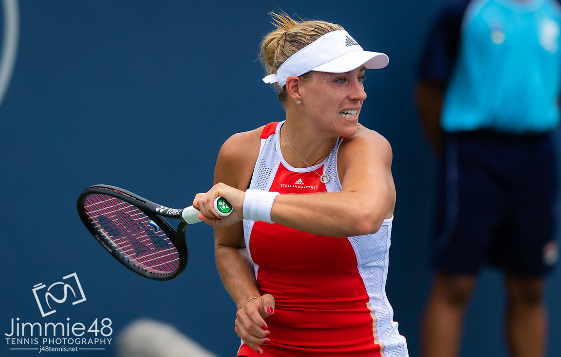 Angelique Kerber of Germany in action during her first-round match at the 2019 Western & Southern Open WTA Premier Tennis 5 Tournament