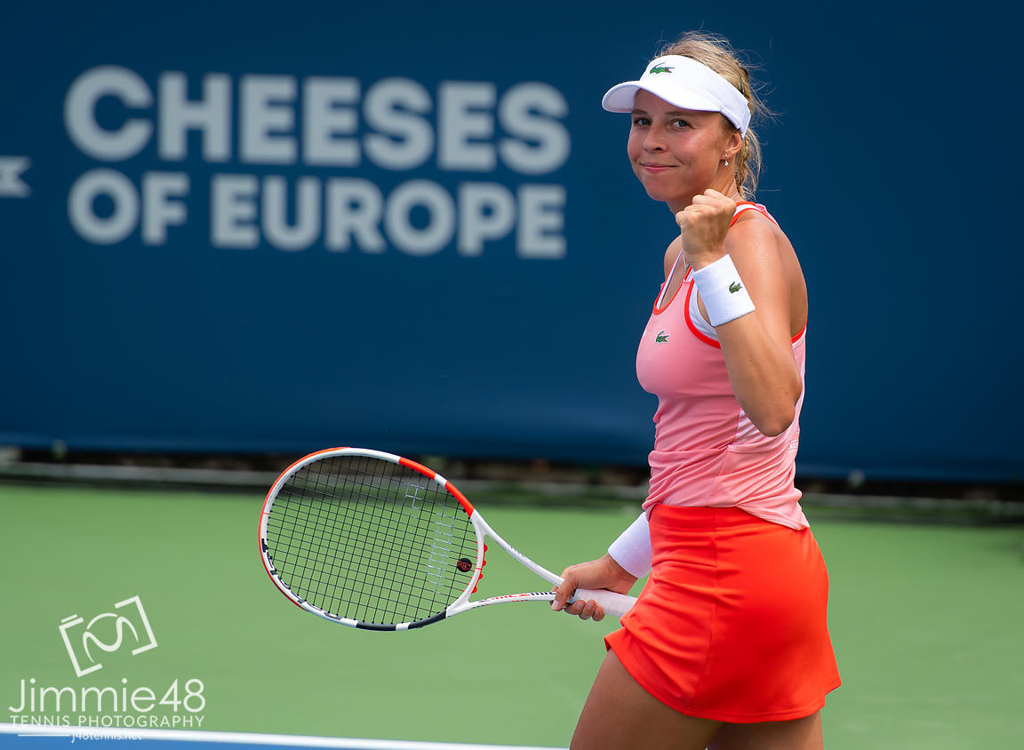 Anett Kontaveit of Estonia in action during her first-round match at the 2019 Western & Southern Open WTA Premier Tennis 5 Tournament