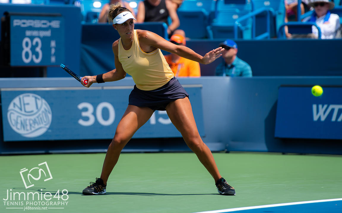 Madison Keys of the United States in action during the final of the 2019 Western & Southern Open WTA Premier Tennis 5 Tournament