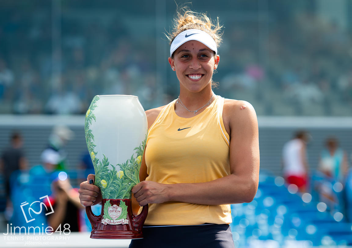 Madison Keys of the United States with her winners trophy after the final of the 2019 Western & Southern Open WTA Premier Tennis 5 Tournament