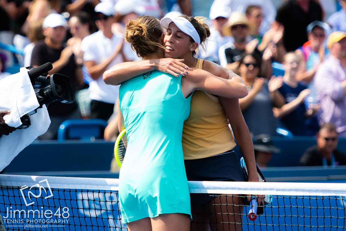 Svetlana Kuznetsova of Russia & Madison Keys of the United States at the net after the final of the 2019 Western & Southern Open WTA Premier Tennis 5 Tournament