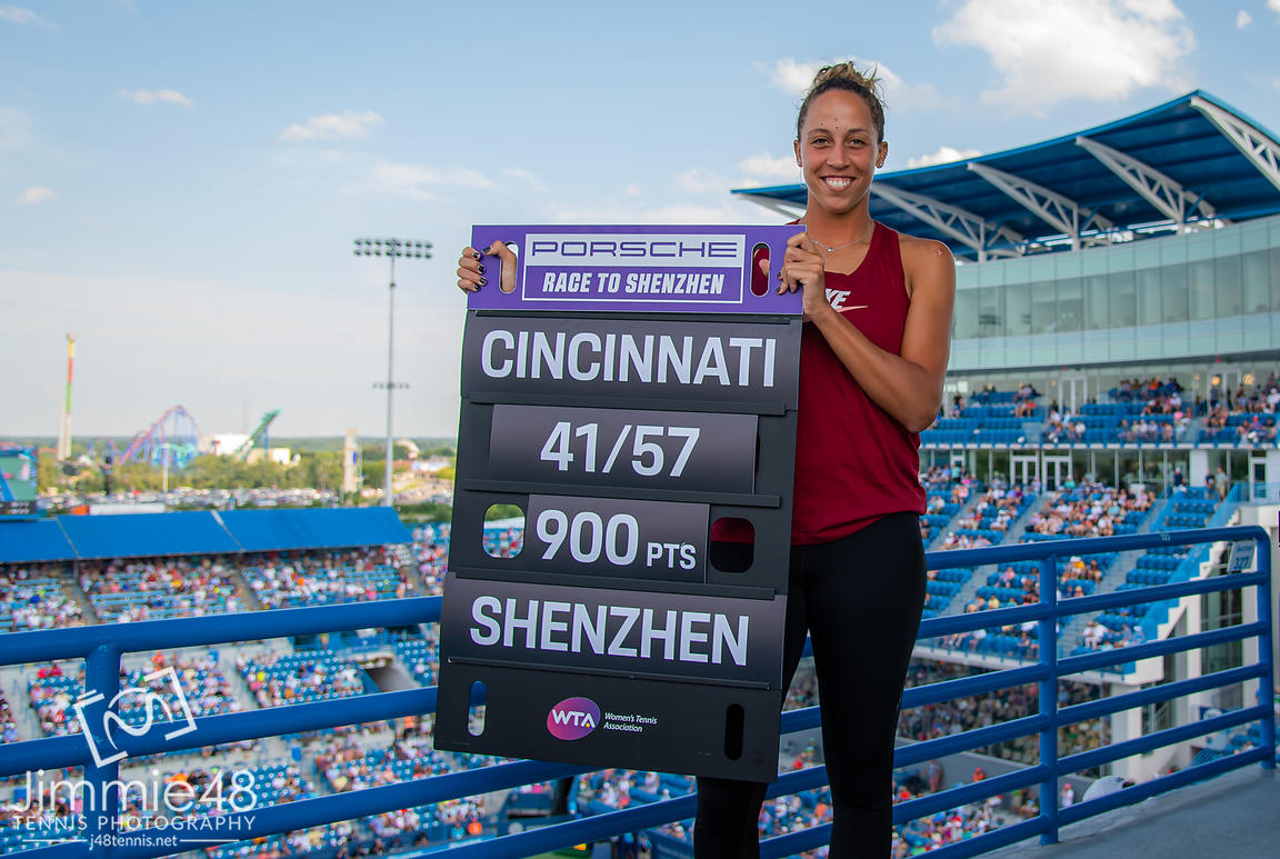 Madison Keys of the United States after winning the final of the 2019 Western & Southern Open WTA Premier Tennis 5 Tournament