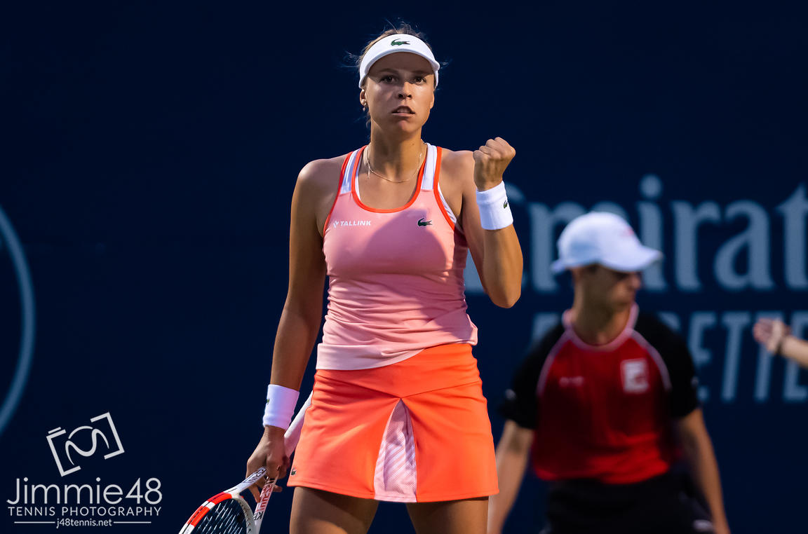 Anett Kontaveit of Estonia in action during her first round match at the 2019 Rogers Cup WTA Premier Tennis 5 Tournament