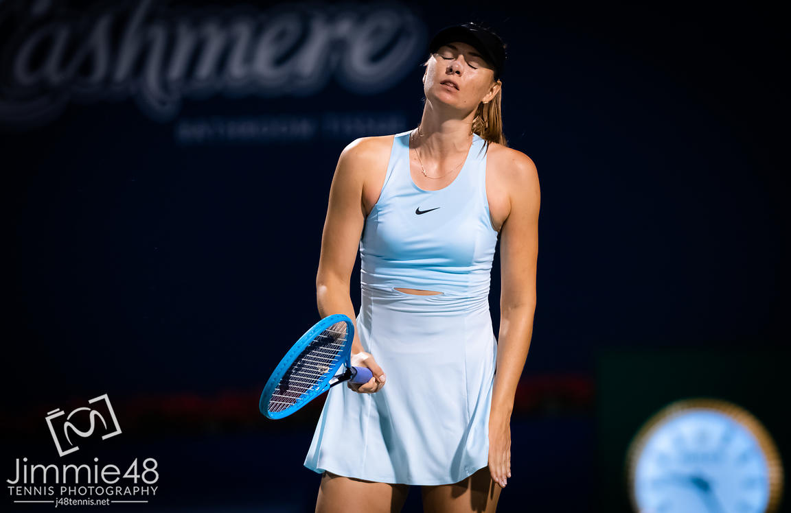 Maria Sharapova of Russia in action during her first-round match at the 2019 Rogers Cup WTA Premier Tennis 5 Tournament