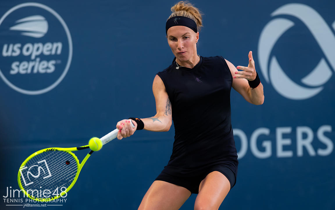 Svetlana Kuznetsova of Russia in action during her second-round match at the 2019 Rogers Cup WTA Premier Tennis 5 Tournament