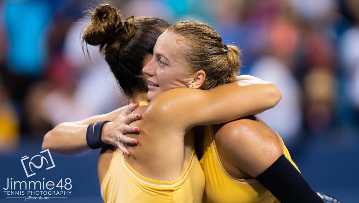Maria Sakkari of Greece & Petra Kvitova of the Czech Republic at the net after their second-round match at the 2019 Western & Southern Open WTA Premier Tennis 5 Tournament