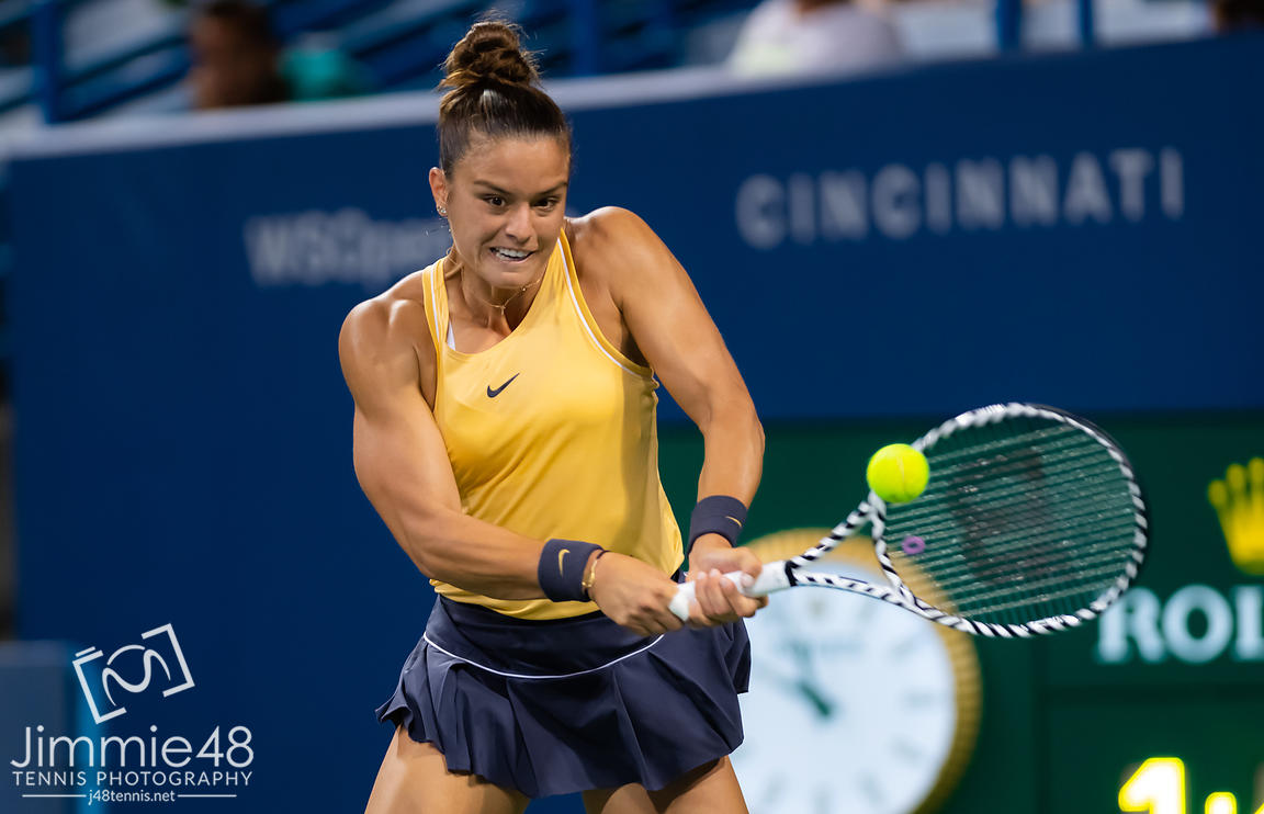 Maria Sakkari of Greece at the net after their second-round match at the 2019 Western & Southern Open WTA Premier Tennis 5 Tournament