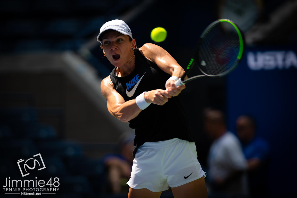 Simona Halep of Romania during practice at the 2019 US Open Grand Slam tennis tournament
