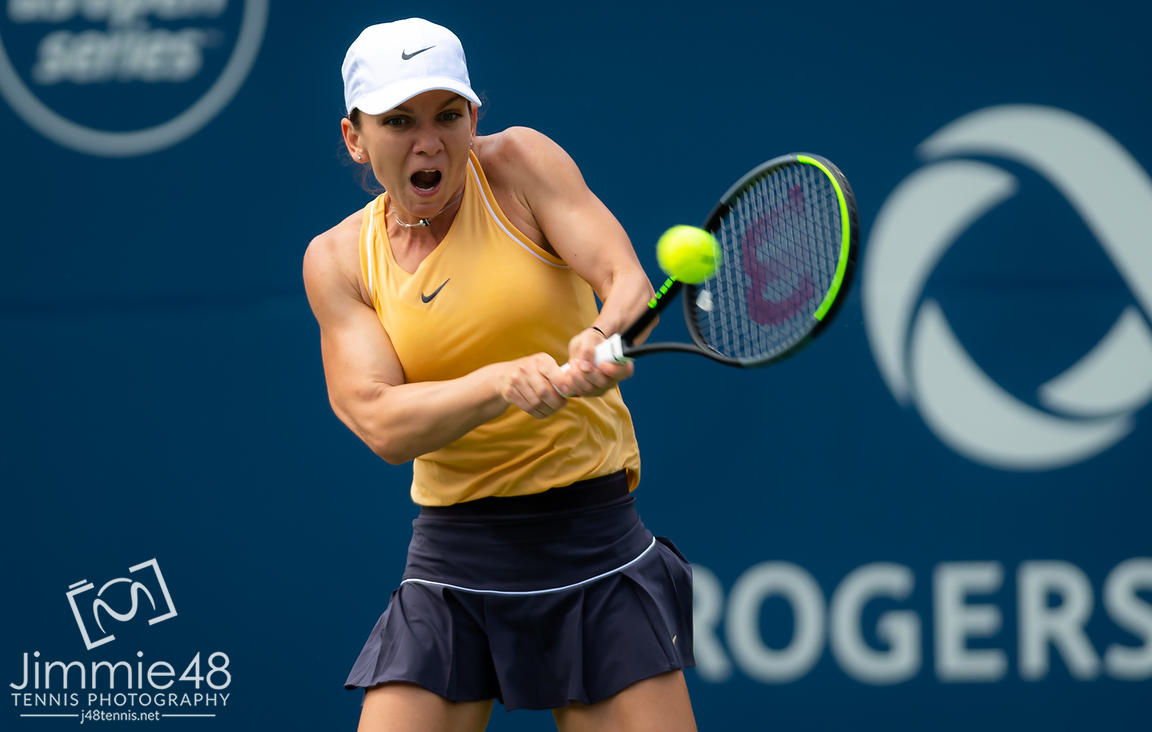 Simona Halep of Romania in action during her second round match at the 2019 Rogers Cup WTA Premier Tennis 5 Tournament