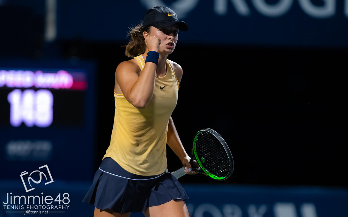 Iga Swiatek of Poland in action during her second-round match at the 2019 Rogers Cup WTA Premier Tennis 5 Tournament