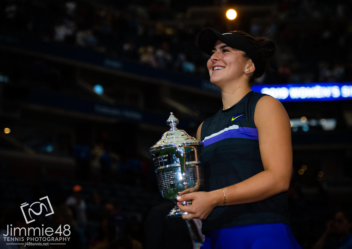 Bianca Andreescu of Canada with the winners trophy after the final of the 2019 US Open Grand Slam tennis tournament