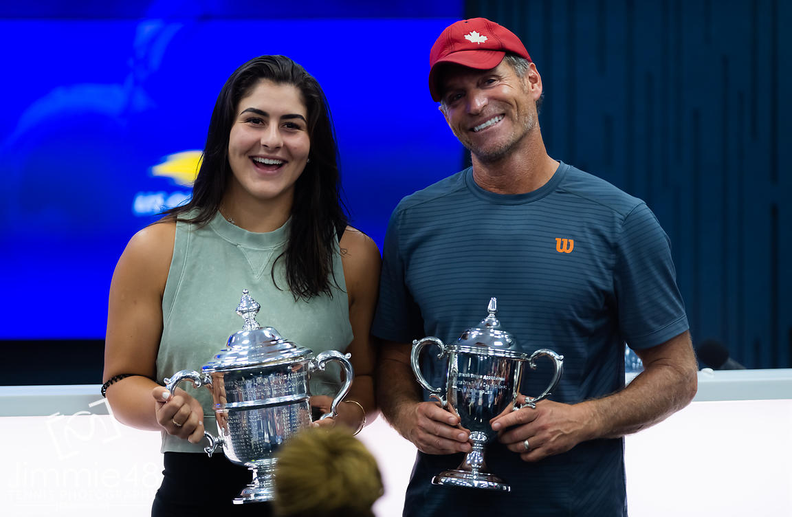 Bianca Andreescu of Canada and coach Sylvain Bruneau after the final of the 2019 US Open Grand Slam tennis tournament