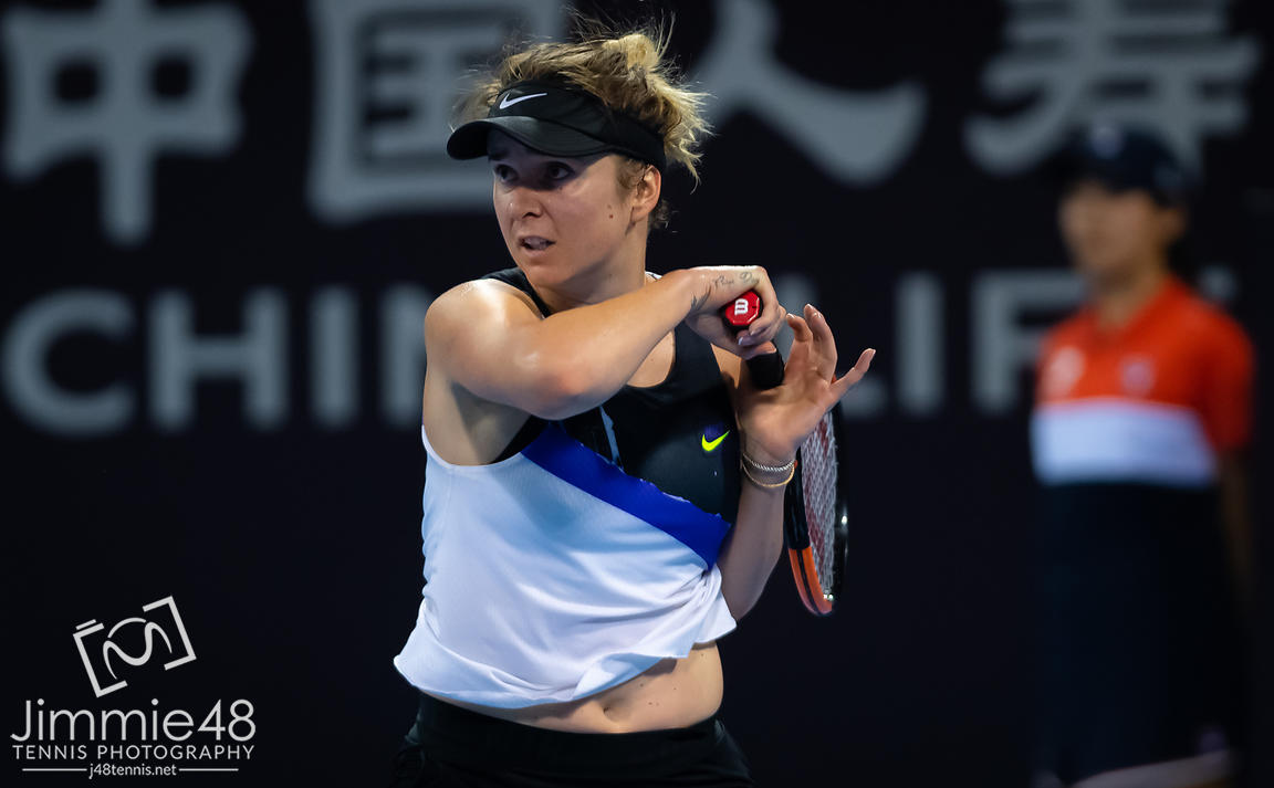 Elina Svitolina of the Ukraine in action during her second-round match at the 2019 China Open Premier Mandatory tennis tournament