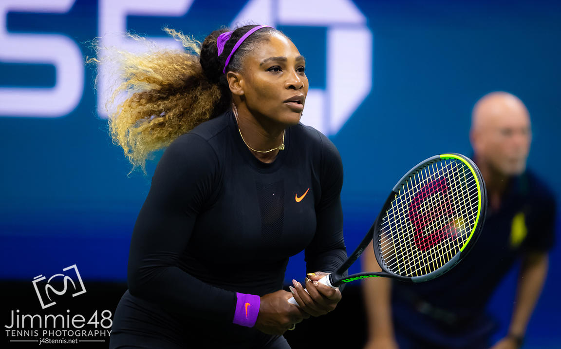 Serena Williams of the United States in action during her semi-final match at the 2019 US Open Grand Slam tennis tournament