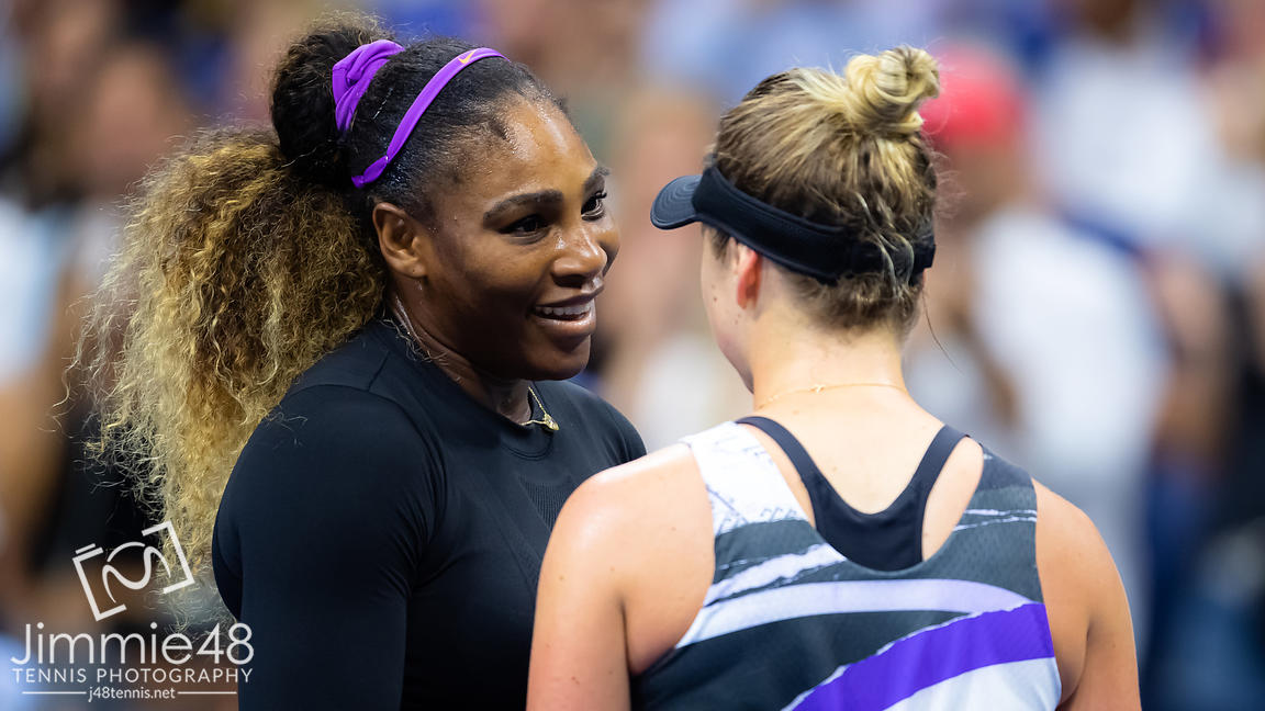 Serena Williams of the United States & Elina Svitolina of the Ukraine at the net after the semi-final at the 2019 US Open Grand Slam tennis tournament