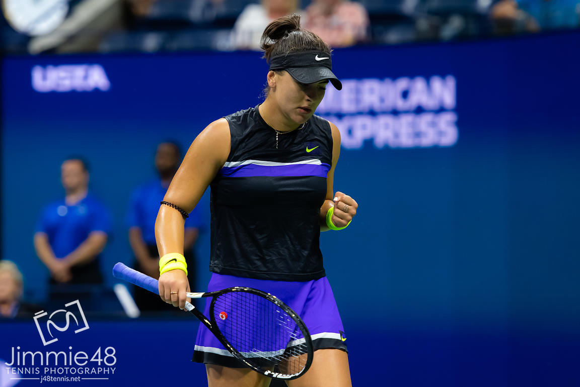 Bianca Andreescu of Canada in action during her semi-final at the 2019 US Open Grand Slam tennis tournament