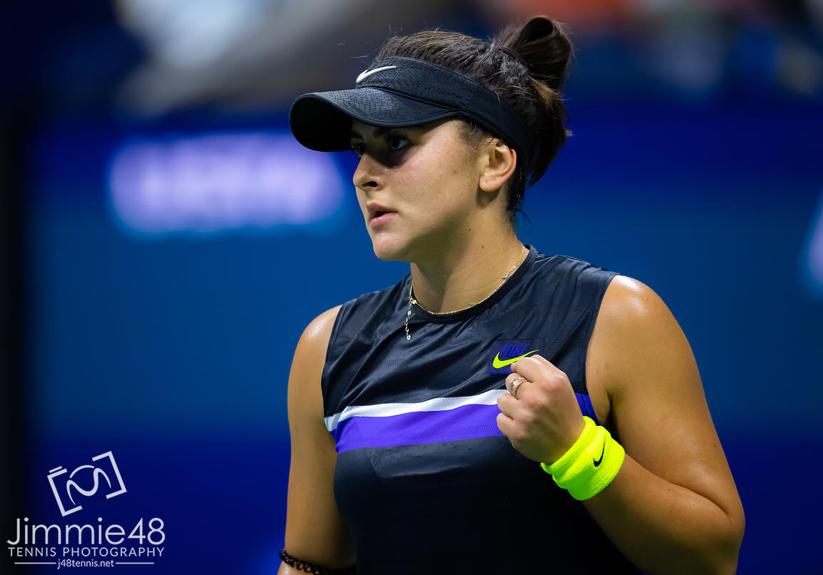 Bianca Andreescu of Canada in action during her semi-final match at the 2019 US Open Grand Slam tennis tournament